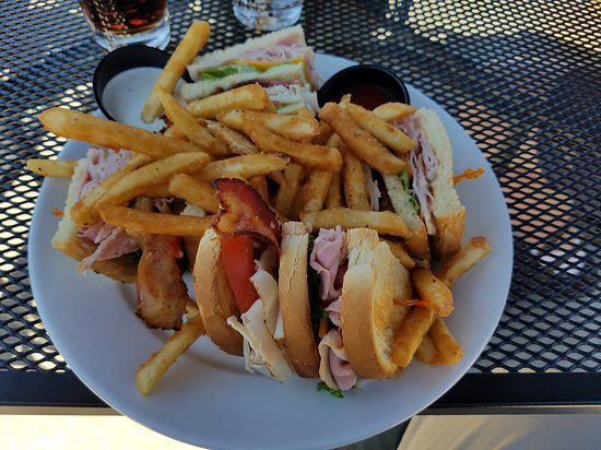 Lacey, WA: Clubhouse Sandwich with fries, and view