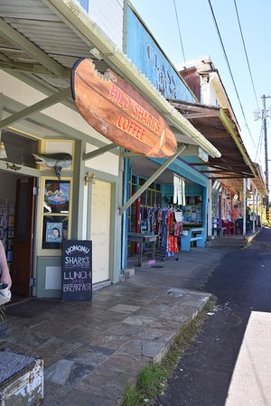 Honomu, HI: The shopping strip. Check out all the shops to find something different
