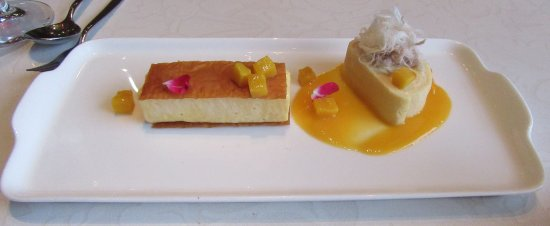 West Restaurant + Bar: Passionfruit condensed milk cake roll and mango parfait dessert.
