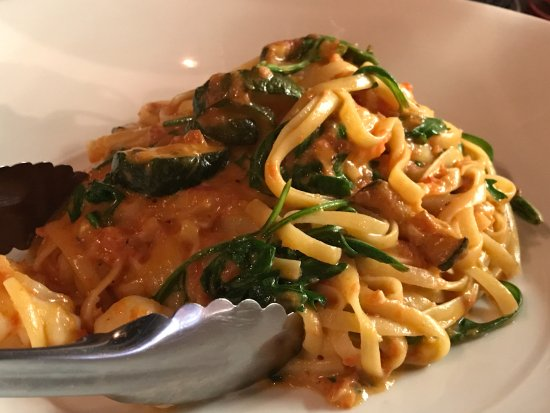 Casula, Australia: Prawn linguini in pink sauce with zucchini & spinach