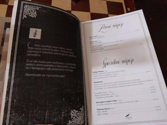 Synagoga Cafe in Trnava: drinks menu