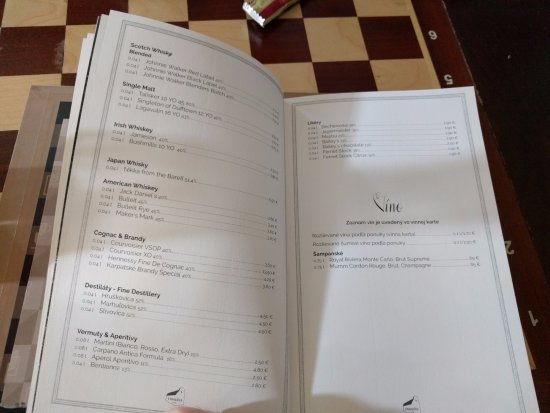 Synagoga Cafe in Trnava: drinks menu