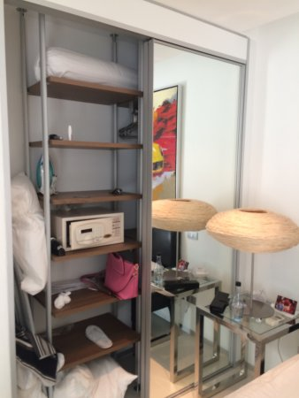 BYD Lofts Boutique Hotel & Serviced Apartments: No luggage or wardrobe space for family travellers. This is the only wardrobe.