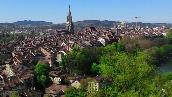 Bern, capital of Switzerland - view to old city,church,parliament ...
