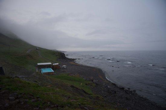 Kjorvogur, Iceland: 40 minutes drive away: The pool at Krosneslaug. Photographed at midnight