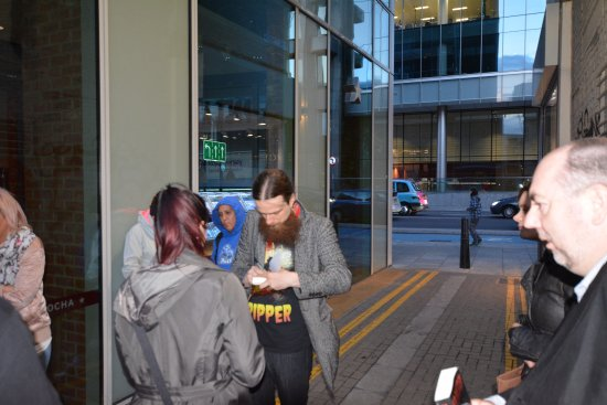 The Jack the Ripper Tour With Ripper Vision: Mick signing a copy of his book for me :-)