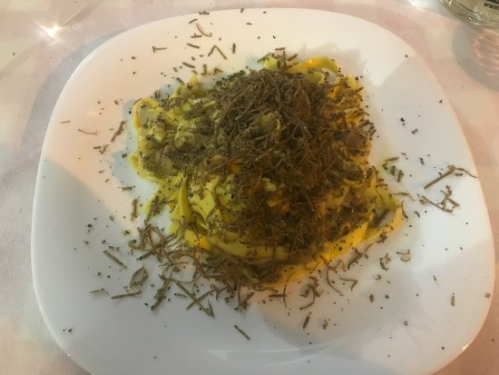 Pieve A Presciano, Italia: Tartufo dishes ( mortadella and pasta ) , amazing !