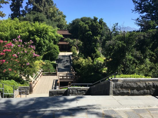 The Huntington Library, Art Collections and Botanical Gardens: A view towards the traditional house in the Japanese garden.