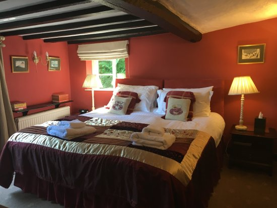 Winchelsea, UK: Huge comfy bed in garden room with beamed ceiling