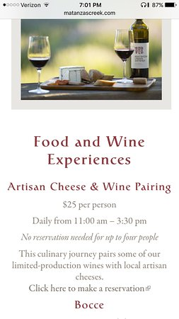 Matanzas Creek Winery: Website incorrectly advises reservations not needed
