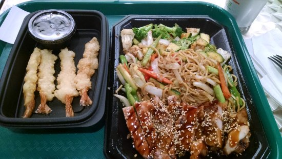 Odessa, TX: Shrimp tempura (left) and chicken teriyaki w/ noodles (right)