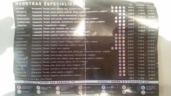 Segur de Calafell, Spain: Oferta de 1/4, 1/2 y 1 metro de pizza combinada a tu gusto