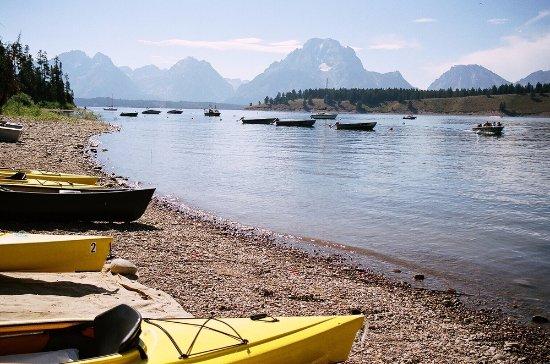 Boats waiting to see the Grand Teton