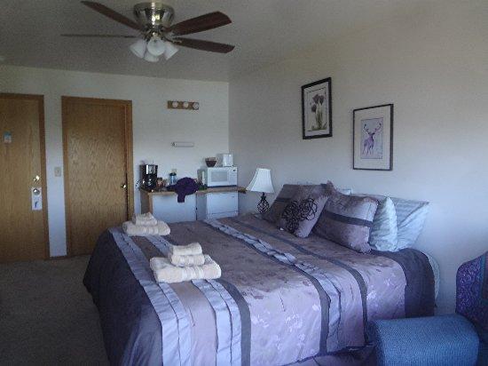Denali Lakeview Inn: Purple Caribou room - kingsize bed