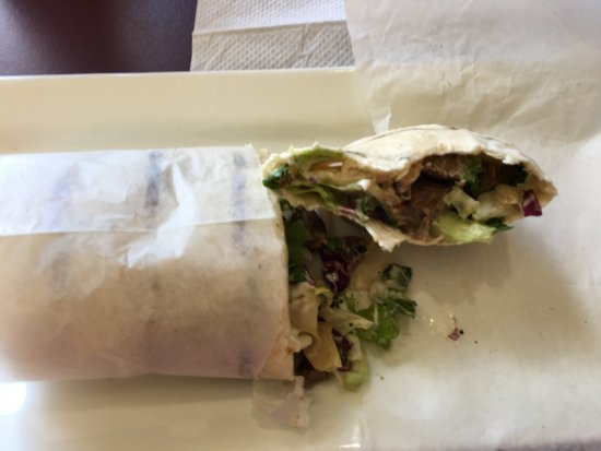 Rosemont, IL: Yummy lamb wrap with the best tahini sauce ever.