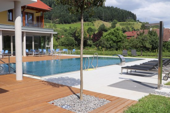 Haslach im Kinzigtal, Germany: Pool and sun deck surrounded by the black Forrest are great place to relax
