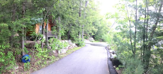 Ossipee, NH: Cabin K3 - not much room around the cabin. Across from beach