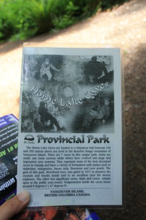 Horne Lake Caves Provincial Park: map given by park staff