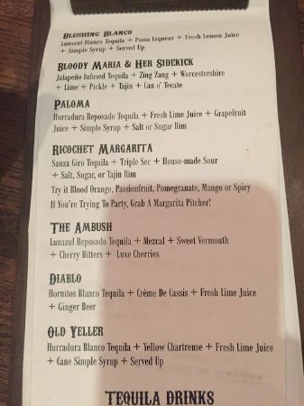 Valparaiso, IN: cocktail menu