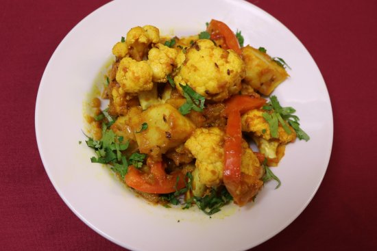 Camrose, Canada: Combination of Cauliflower and Potatoes cooked with Fresh Chopped garnish with cilantro