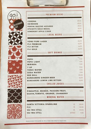 Goji Kitchen Bar Fiji Menu