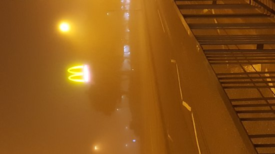 Kirkby Town Centre on a foggy night.