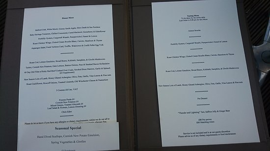 Rosevine, UK: Dinner menu