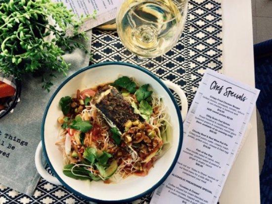 East Maitland, Australia: Barramundi & rice noddle salad with ginger & shallot sauce