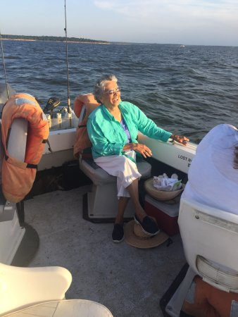 Striper Express Guide Service: Mom(79), enojoyed the Beautiful, brisk morning boat ride!