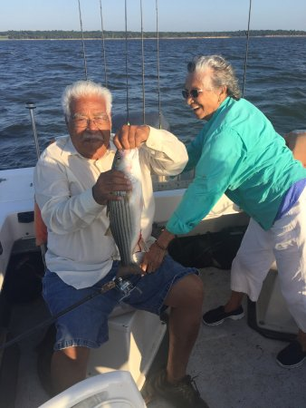 Striper Express Guide Service: Mother excited with my Dad's Catch!(84)