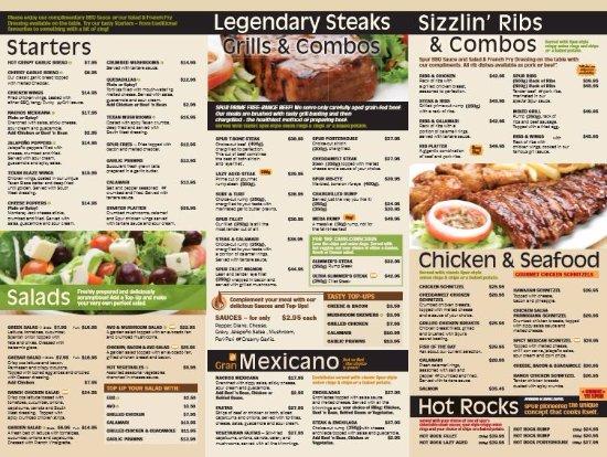 Silver Spur Steak Ranch : Menu