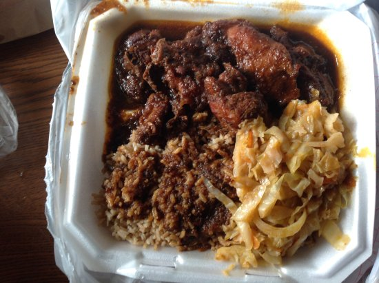 Junction City, Kansas: Brown Stew Chicken with rice and cabbage