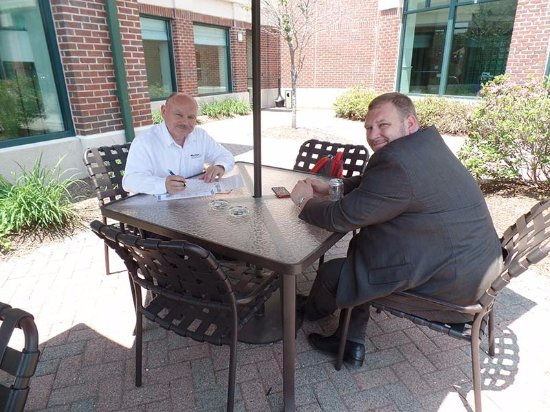 Glastonbury, CT: Dave and Scott, working on the patio, which also is great for a glass of wine at the end of the