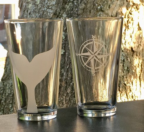 Rockport, MA: Etched Glasses. Pint, rocks, stemless sizes. Nautical and zip code designs. Toast living by the
