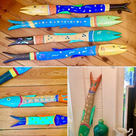 Fish Folk Art. Wood Hand cut, sanded and painted by a Rockport artist.  From a picket fence!