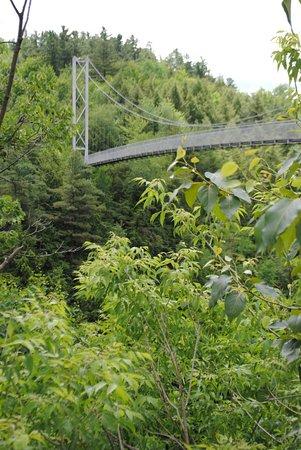 Canaan, VT: Foresta Lumina suspension bridge, Coaticook, QB.