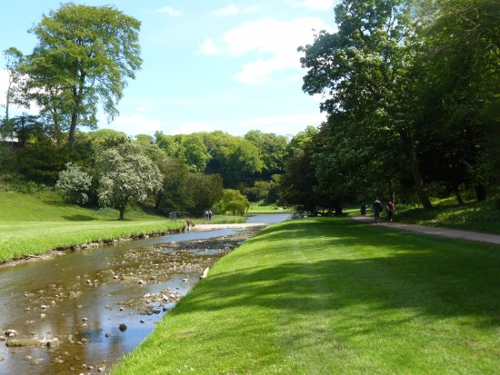 Fountains Abbey and Studley Royal Water Garden: Looking back along River Skell from West