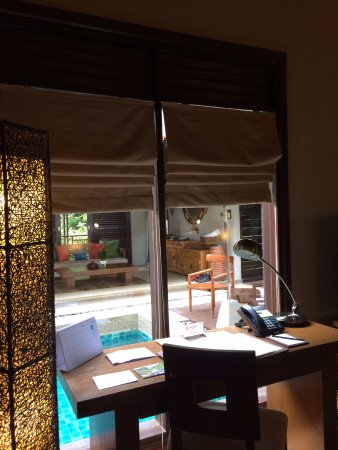 The Banjaran Hotsprings Retreat: From the bedroom looking out to pool and living room