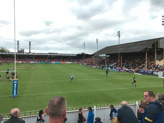 Castleford, UK : Traditional Rugby League stadium.
