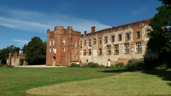 Farnham, UK: A view of the castle house and gatehouse, the castle keep is behind the main house.
