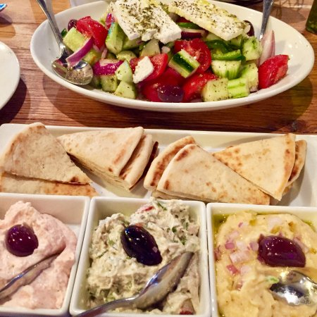 Great Falls, VA: Greek Village Salad with some appetizers that are delicious
