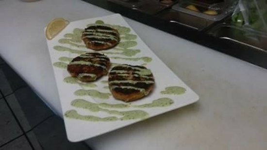 Blaine, WA: Cajun Cod cakes in tarragon green goddess sauce