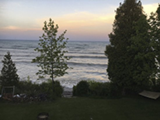 Algoma, WI: View from the stairs leading to the lawn and Lake Michigan