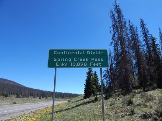 The Continental Divide is on US 149 between Lake City and Creed Colorado
