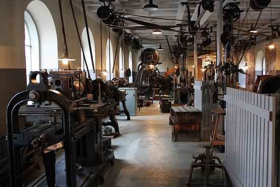 Eskilstuna, Sverige: The museums mechanical workshop.