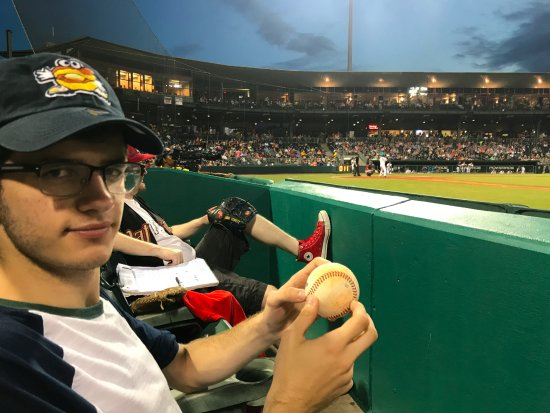 Riverwalk Stadium: All these years of going to baseball, first ball I've ever got.