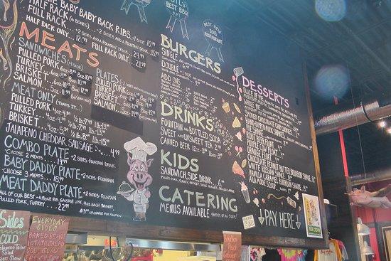 menu board at Sugarfire 44 bbq in Valley Park, MO