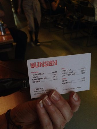 Bunsen: entire menu on a business card, genius!