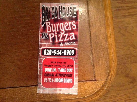 Brickhouse Burgers Pizza Maggie Valley Menu Prices