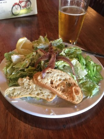 Late lunch at the Banshee in downtown Chico. Not so hot today just under 100 F, so a Caesar sala